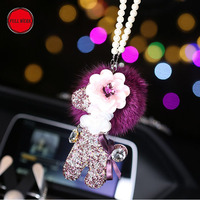 Rhinestones Car Rearview Mirror Hanging Hanger Auto Interior Decoration Pendant for Women Girls Auto Accessories