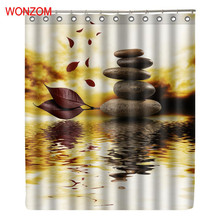 WONZOM Leaf Stone And Water Shower Curtains For Bathroom Decor Modern Bath Waterproof Curtain with 12 Hooks Accessories