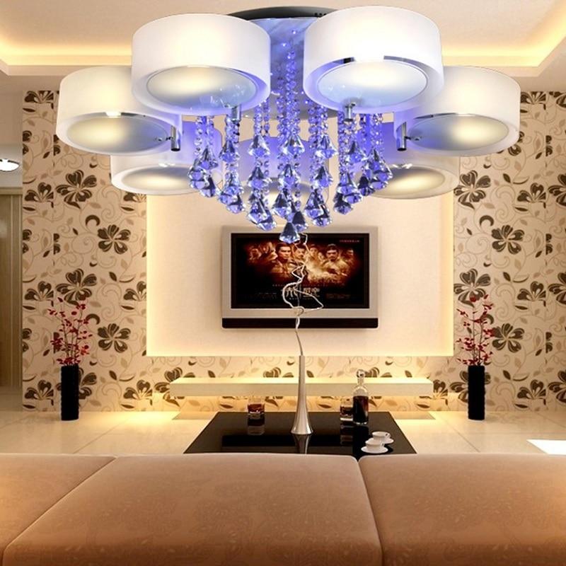 Round romantic LED ceiling lights crystal living room bedroom room lighting Ceiling lamp