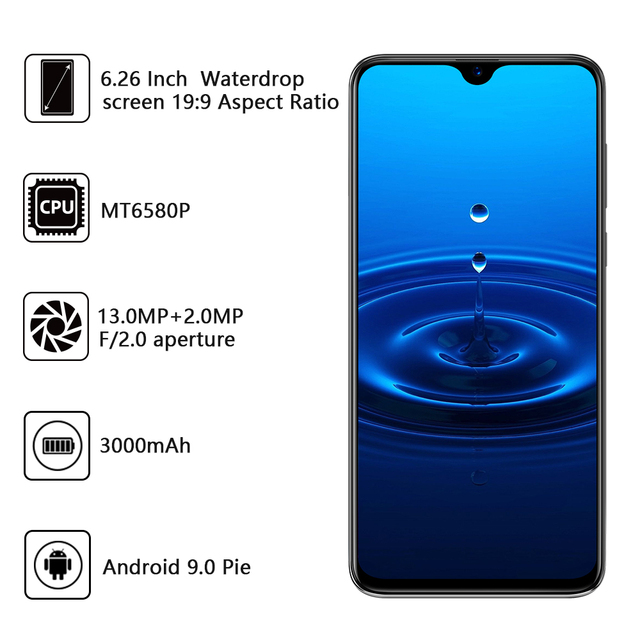 Cubot R15 SmartPhone 6.26 199 Water-Drop Screen MT6580P Quad Core Android 9.0 2GB+16GB Finger ID Dual Rear Camera13MP 3000mAh