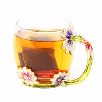 KEYTREND New Classical Enamel Glass Mug Luxury Glass Cups With Rhinestones Decoration On Flower Unique Gift