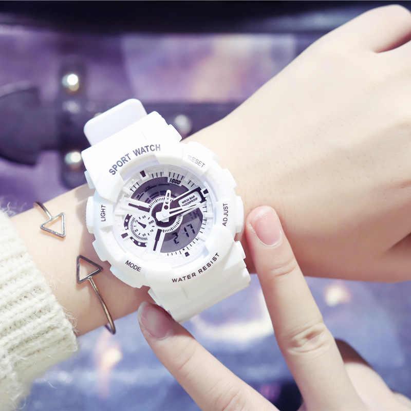 النساء الرياضة الساعات الأزياء للماء متعددة الوظائف الرقمية المعصم ساعة كوارتز Montre فام Relogio Feminino مع مربع