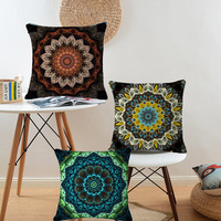 Bohemian Style Flower Mandala Cushion Cover Pillow Case Linen Cotton Pillow Covers Plant Sofa Car Seat
