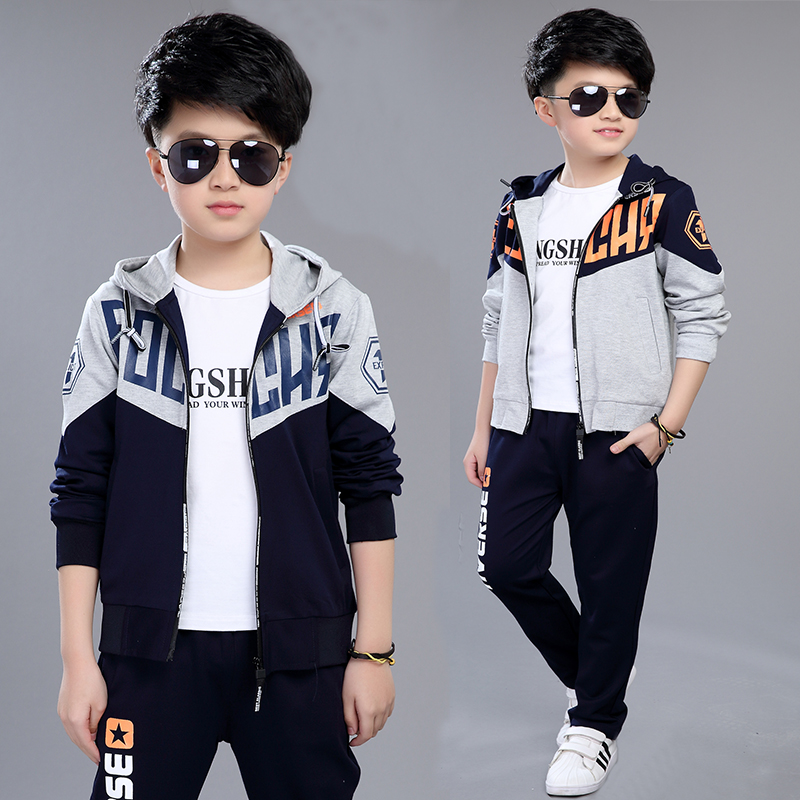 Children's clothing male child spring and autumn set child sports casual 11 boy long-sleeve 13 twinset  for 7-15 years old