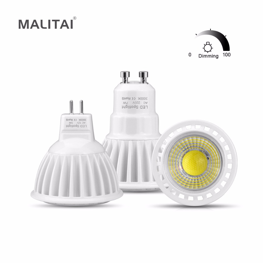 gu10 led bulb lamp 110v 220v 3w 5w 7w mr16 led dc ac 12v 24v dimmable cob led spot light. Black Bedroom Furniture Sets. Home Design Ideas