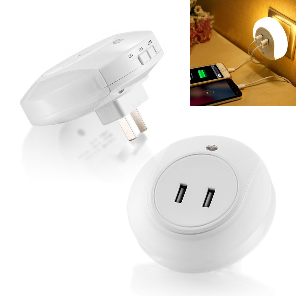 New Smart Design LED Night Light with 2A Dual USB Port Wall Plate Charger Perfect for Bedroom Bedside