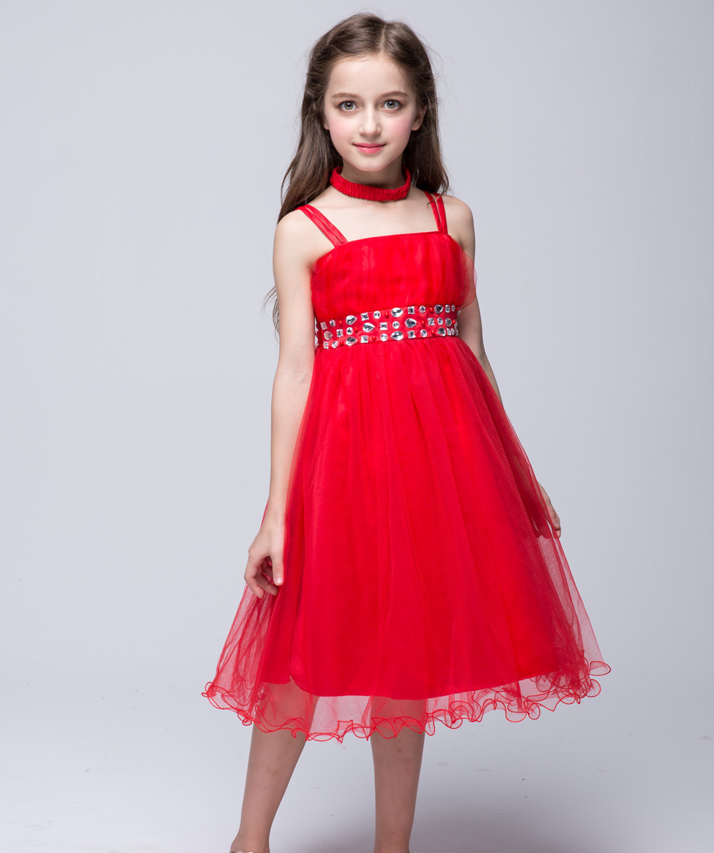 Teenage Party Dress Kids Red Tulle Ball Gown Evening Dresses For Baby Girls Infant Kids Wedding Sundresses Clothes For 12 Years hayden girls boho ethnic dress designs teenage girls national embroidered dresses flare sleeve loose fit dress for 7 to 14 years