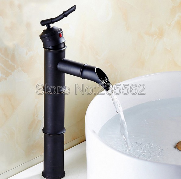 Black Oil Rubbed Brass Single Handle Deck Mounted Bathroom Basin Sink Mixers with Hot and Cold Waterlnf070