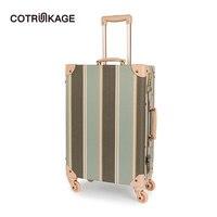 COTRUNKAGE 20 26 дизайнерская холщовая для женщин Путешествия Винтаж чемодан замки TSA дамы прокатки чемодан на колесиках чемодан с колесами