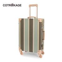 COTRUNKAGE 20 26 Designer Canvas Women Travel Vintage Suitcase TSA Locks Ladies Rolling Trunk Trolley Luggage with Wheels