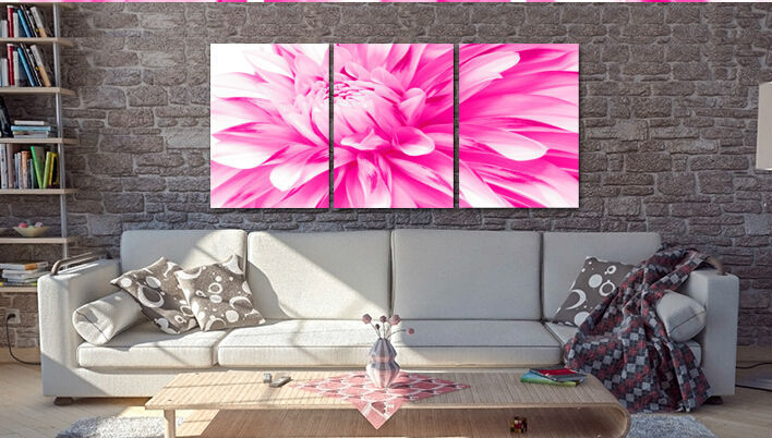 Pink flower oil painting on canvas wall art prints picture Modern ...