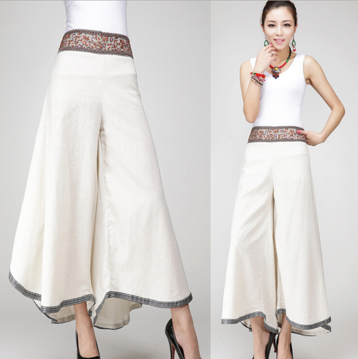 Spring Summer Loose High Waist Wide Leg Embroidery Casual Pants Culottes Big Size Cotton Linen Female Trousers Black White