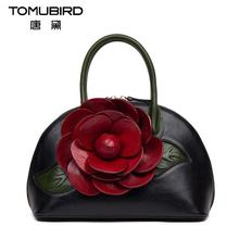 Famous brand top quality Genuine leather women bag 2016 new three dimensional rose handbag Shoulder Messenger