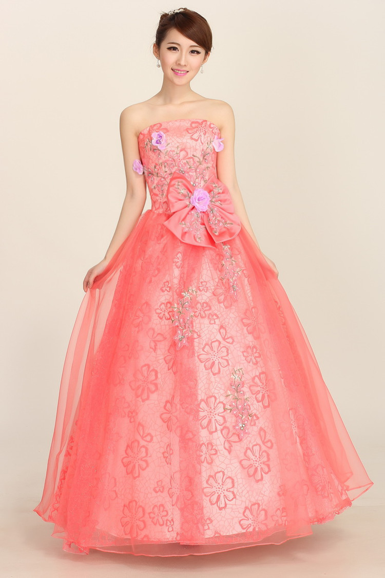 Sexy Peach Red Vintage Lace Petal Panels Floral Strapless Trumpet ...