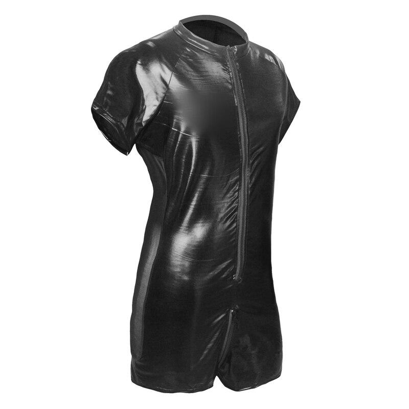 New Latex Catsuit Faux Leather Man Jumpsuits Black Stretch Mesh Bodysuits Sexy Clubwear Men Open Crotch Vinyl Lingerie