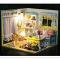 Смешно Творческих DIY Дерева Кукольный Дом Сборки Игрушки для детской Подарок На День Рождения, Дом Миниатюрный для Кукольных Домиков