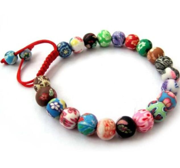 Polymer Clay Flower Tibet Buddhist Prayer Bracelets Mixed Color Beads Weave Red Blue Rope Bracelet Bangle For Women Accessories