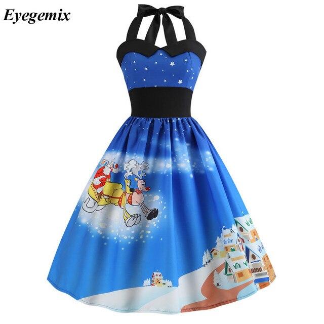 Winter Vestidos 2019 Robe Vintage Pin Up Dress Women Christmas Snowman Print Halter Swing 50s 60s Retro Rockabilly Party Dresses