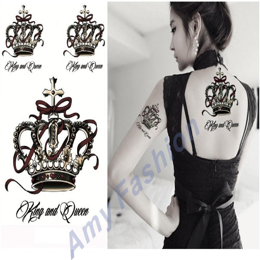 Hot New 3D Design Tattoo the Luxury Crown font b Style b font Temporary Tattoo Sticker