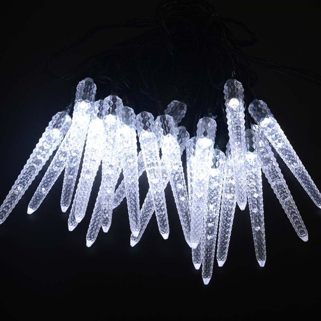 Solar Powered LED Christmas Outdoor Light String 16ft 20LED Icicle String Light For Gardens Homes Wedding Waterproof (Colorful)