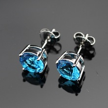 Round Stones Silver Color Stud Earring For Women Blue Imitated Topaz Jewelry Christmas Pretty Free Gift Box