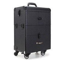 Профессиональный Макияж Дело тележки сумки большой емкости Многослойные многоцелевой косметичка дорожного чемодана коробка красоты toolbox
