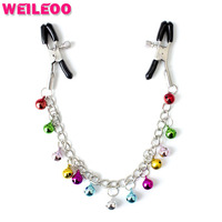nipple clamp with colourful bell chain fetish adult slave game erotic bdsm bondage sex toy for couple