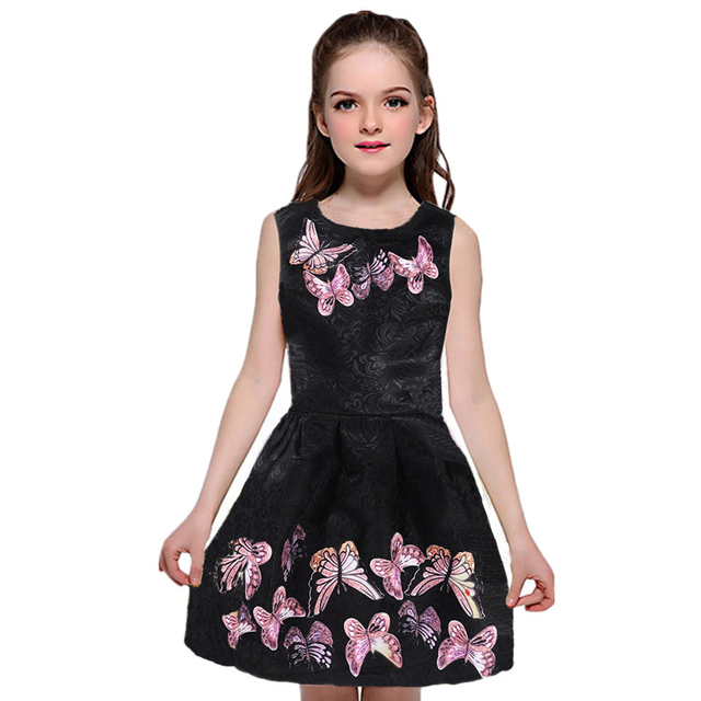 2018 Summer Teen Dresses For Girls Princess Party Black Girl Dress Vestidos Butterfly Print Kids Teenage