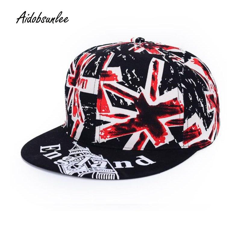 2017 Fashion UK Flag Snapback Hat Cap Hop Hats Hip Hop Baseball Caps Flag of England For Men Women Unisex Leisure Straight Snap