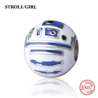 StrollGirl 925 Silver Beads Robot Charms With Color Enamel Fit Authentic Pandora Charm Bracelet Diy Jewelry