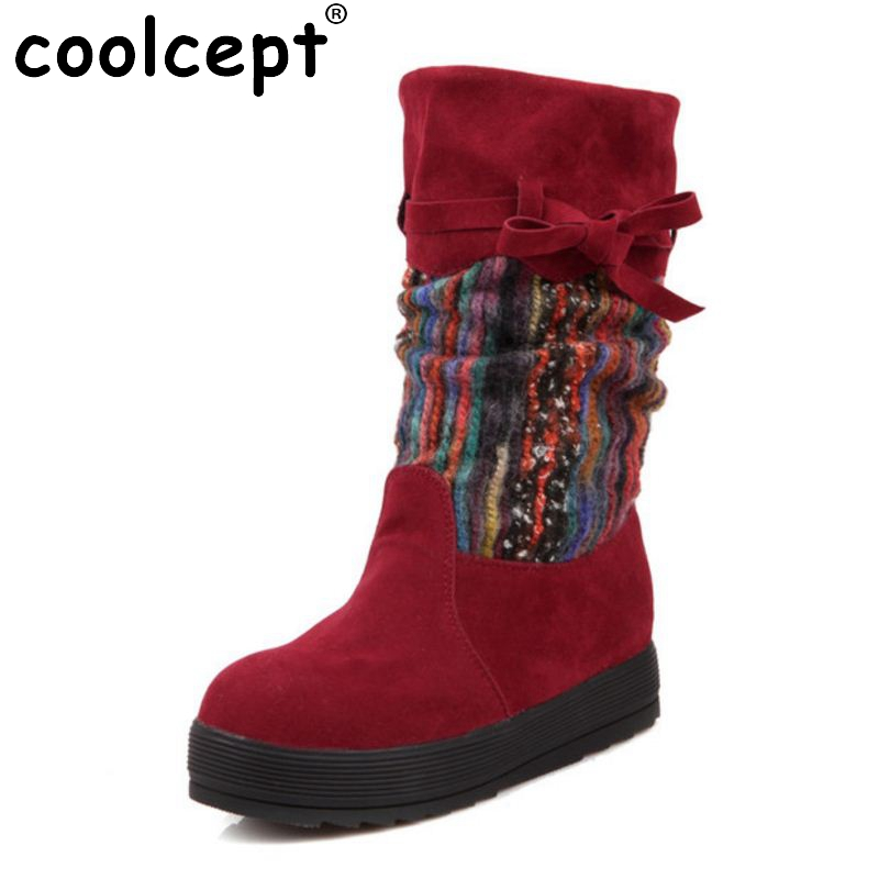 Flat Heel Black Half Short Women Boots Shoes Mix Color Plush Suede Nubuck Winter Boot Woman Warm Snow Boots Size 34-39