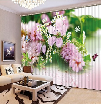 flower  Curtain Printing Blockout Polyester Chinese Sun Photo Drapes Fabric For Room Bedroom