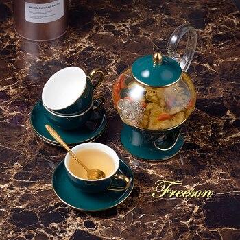 Скандинавский керамический чайный сервиз, фарфоровый ароматизированный чайный стаканчик с ситечком для свечей, цветочный чайный сервиз, к...