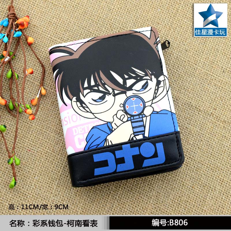 Hot Anime Detective Conan PU Short Wallet/Zipper Purse for Collection or Cosplay hot anime naruto shippuden pu short wallet zipper purse printed with kakashi sharingan for collection or cosplay