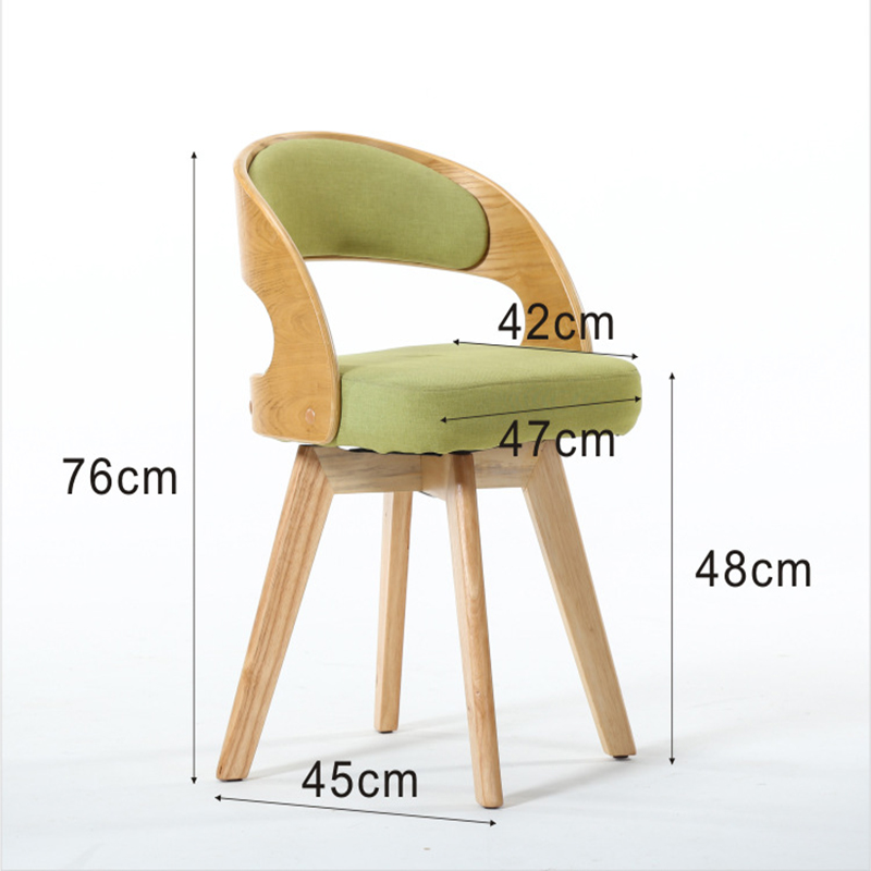 Modern Fabric Solid Wood Rotating Dining Chair Leisure Coffee Shop Restaurant Home Study Bedroom Office Meeting Computer Chair in Dining Chairs from Furniture