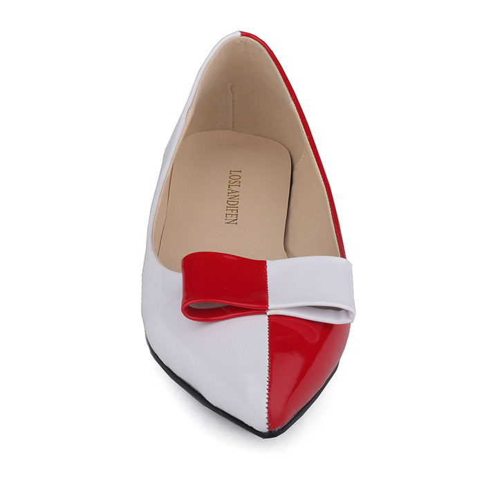 New arrival women flat shoes pointed toe bow patent leather ladies flats 13 colors shallow mouth Single shoes