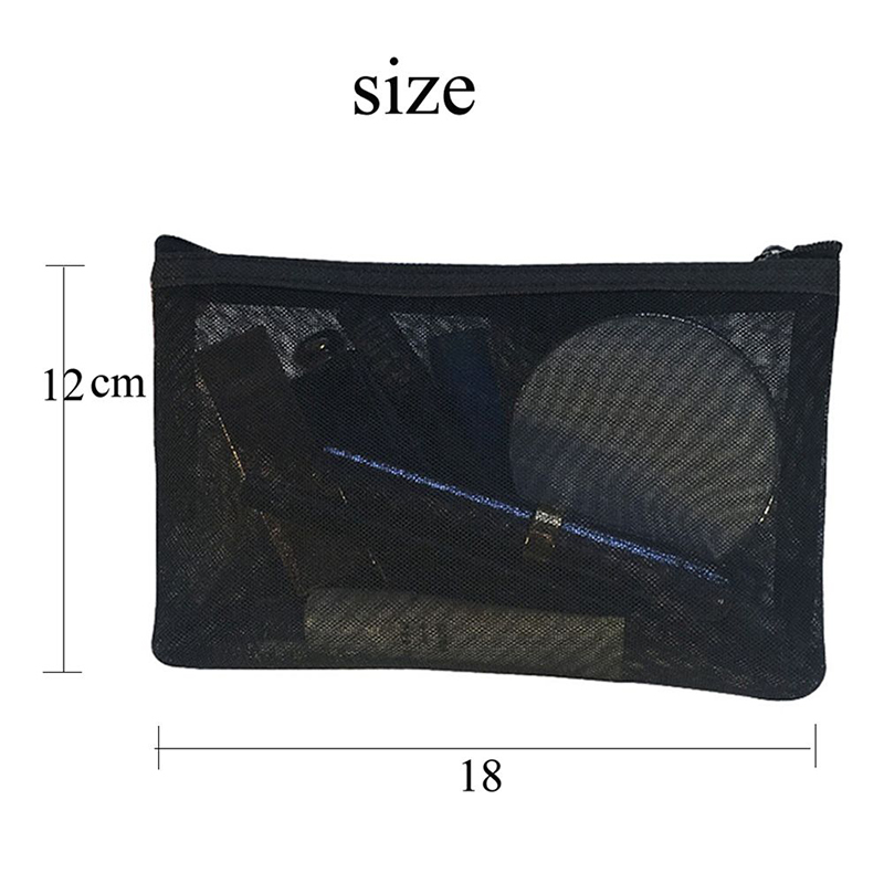 Women Men Neceser Black Mesh <font><b>Cosmetic</b></font> <font><b>Bag</b></font> <font><b>Transparent</b></font> Travel Fashion Toiletry Makeup Organizer <font><b>Bags</b></font> Case Pouch image