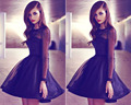New Arrival O Round Neck Long Sleeves Exquisite  Tulle Black A Line Sexy Lace Short Cocktail Dresses 2015