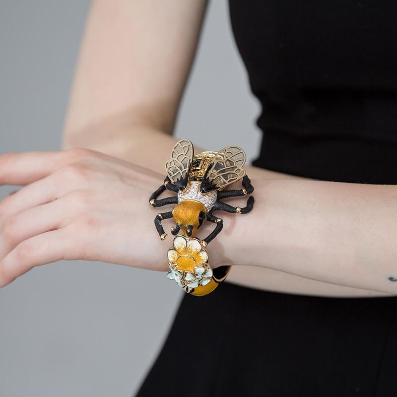 Bracelet de luxe en cuivre émail Esmalte abeille Bijoux Bracelet avec cristal couleur or mode Pulseira Feminina Homens Bijouterie - 3