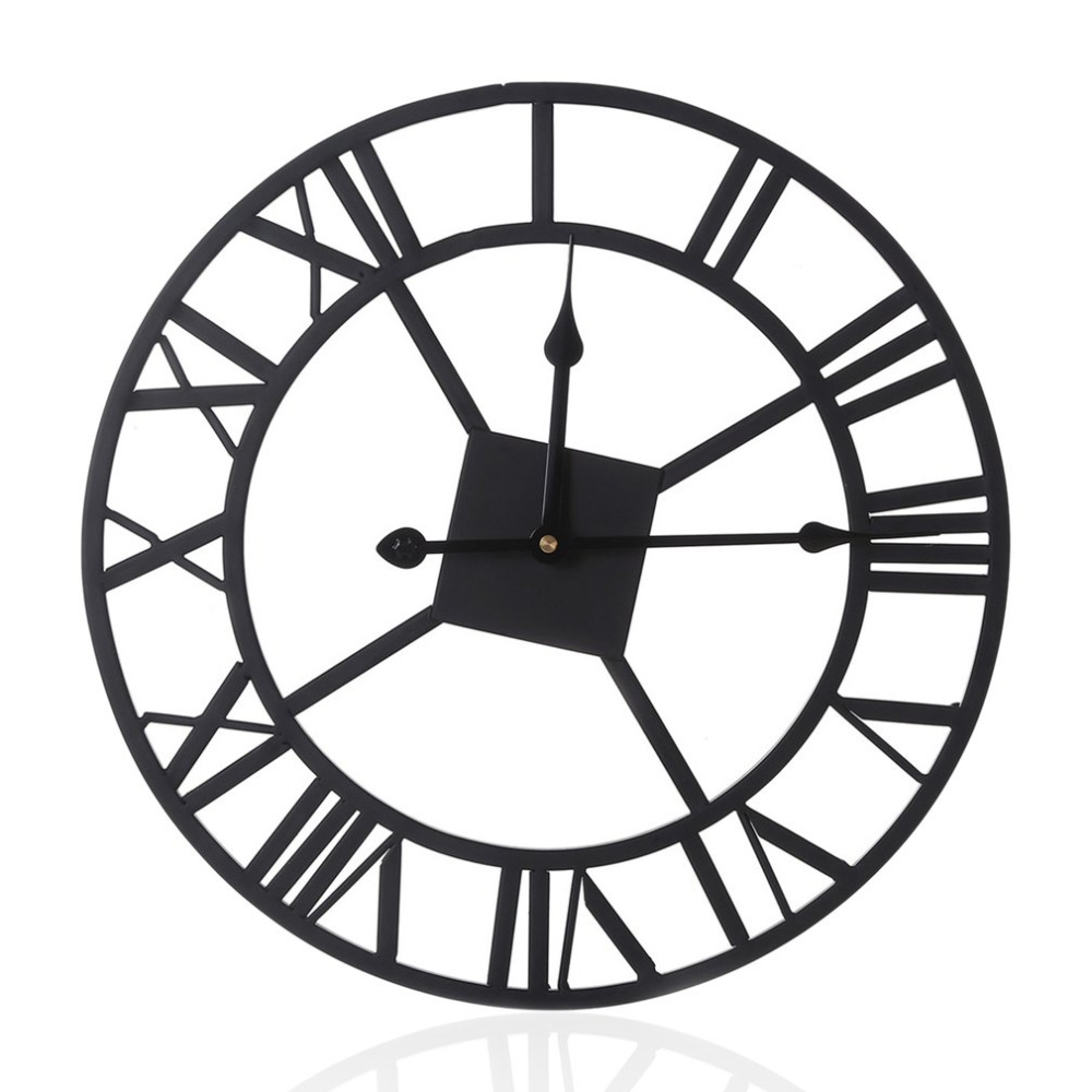 Teal Romannumerals Rounded Fashion Large Wall Wall Clocks Fromhome European Style Wall Clock Vintage Wrought Iron Clock With European Style Wall Clock Vintage Wrought Iron Clock furniture Innovative Wall Clock