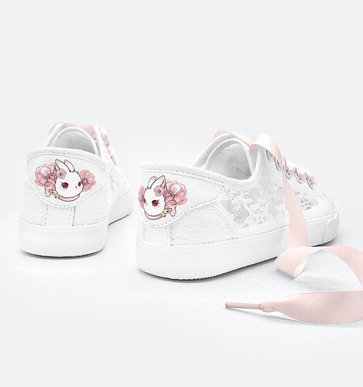 Ribbon White LACE Shoes Women Girl