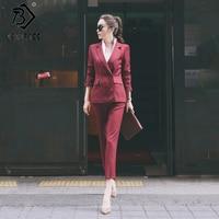 Women's OL Style Fashion Black Suits Sets / Female Business Coats Solid Color Double Button Suits Jackets Blazers +Pants S7D815A
