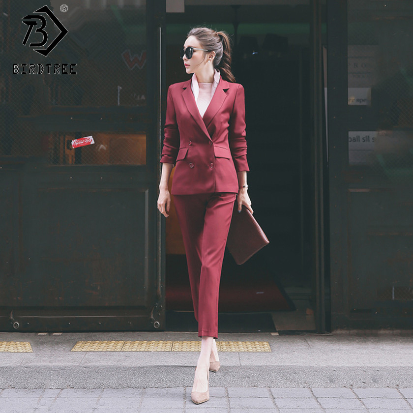 Women's OL Style Fashion Black Suits Sets / Female Business Coats Solid Color Double Button Suits Jackets Blazers +Pants S7D815A