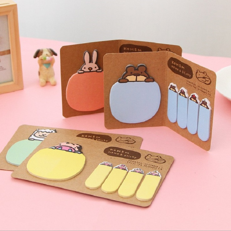 NOVERTY 1pcs Kawaii Animal Rabbit Sticky Notes Post It Paper Memo Pad Kraft Folding Cute Stationery School Office Supplies 01944