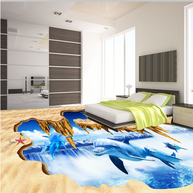 Free Shipping 3D Dolphin Falls Theme Space Floor Thickened Waterproof Bedroom Square Lobby Living Room Flooring Mural