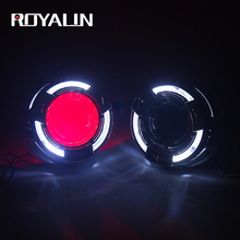 ROYALIN Bi Xenon H1 Car LED Angel Lens Projector Headlights 3.0 Inch Full Metal Quadrod Sports White Devil Eyes H4 H7 Auto Light