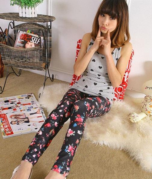 New Style FaShion Womens Leggings Pants Denim Jeans Ladies  Pants Rose Capris Free Shipping