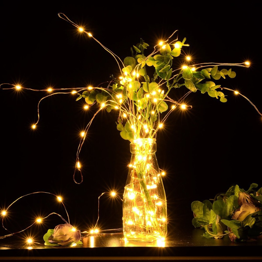 SPLEVISI LED Christmas Fairy Lights Copper Wire String Lights Wedding - Pencahayaan perayaan - Foto 2