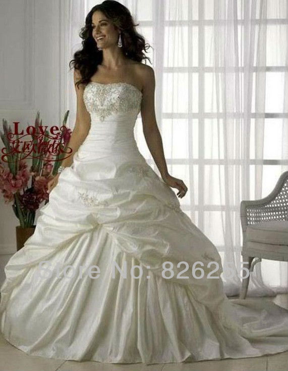 In stock free shipping cheap white ivory princess elegant for In stock wedding dresses