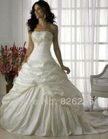 In Stock Free Shipping 2013 Cheap White Ivory Princess Embroidery Elegant Wedding Dresses Gowns WD0338